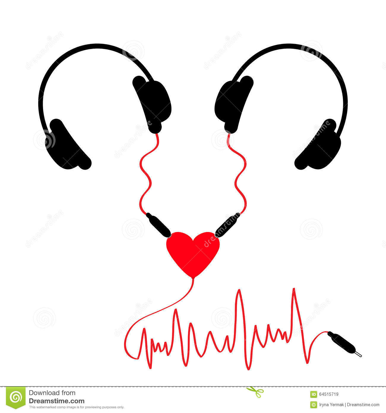 Two headphones. Earphones couple Audio splitter adapter heart. Red ...