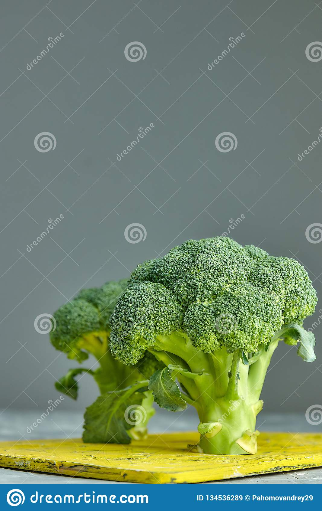 Two heads of healthy salad. fresh green broccoli. horizontal view of green vegetable flower. healthy diet. copy space. green. Two heads of healthy salad. fresh royalty free stock images