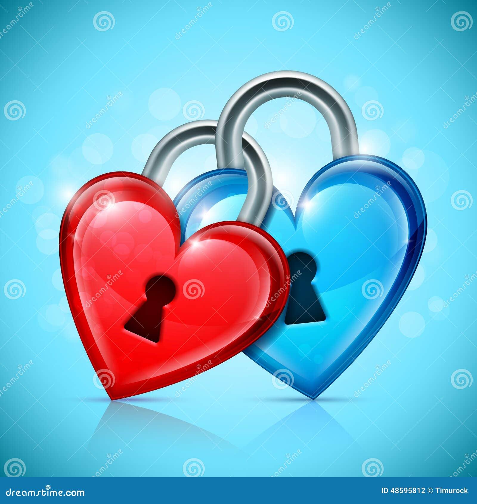 two heart locks stock vector illustration of blue metallic 48595812