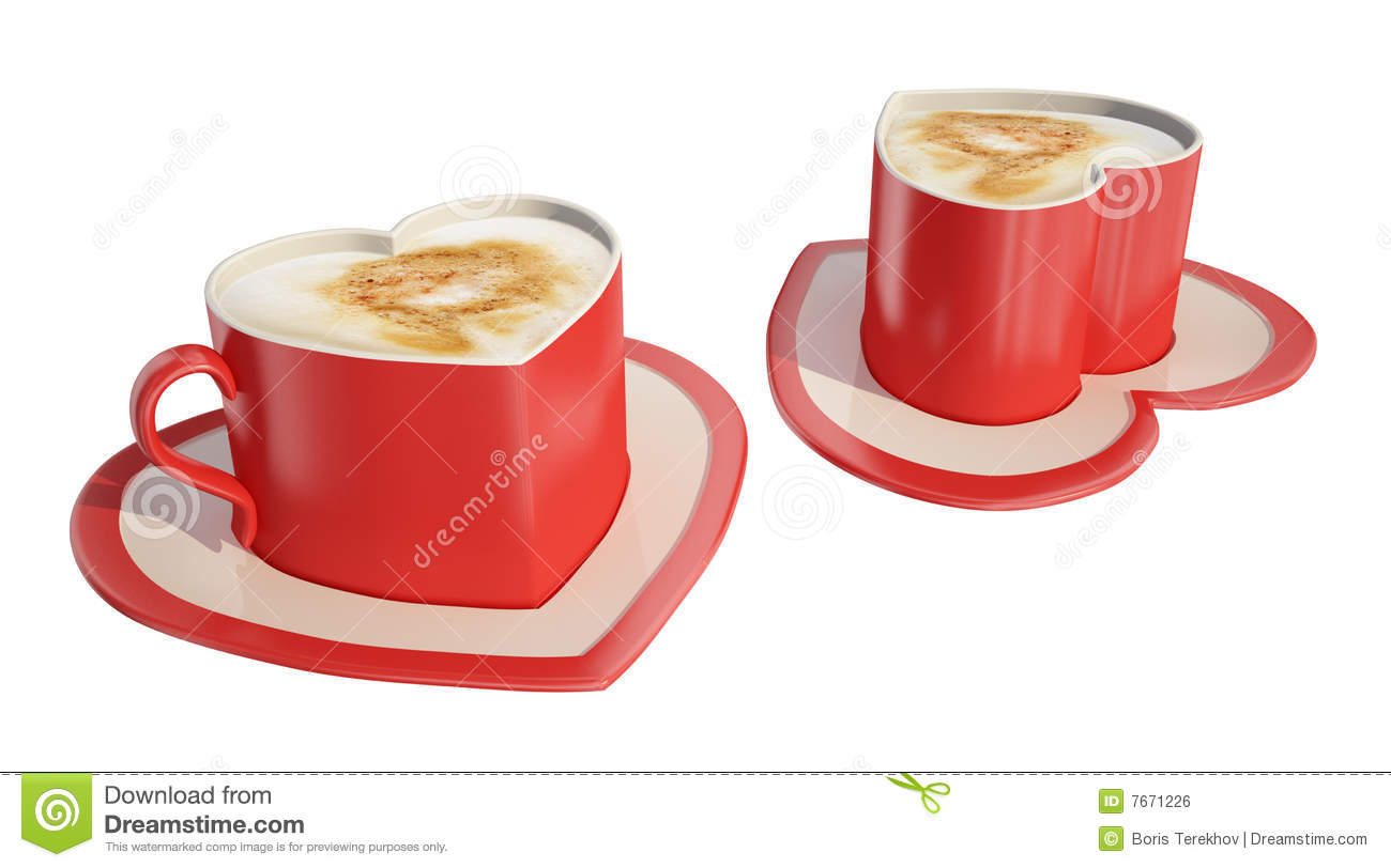Two Heart Shaped Coffee Cups Stock Illustration Image