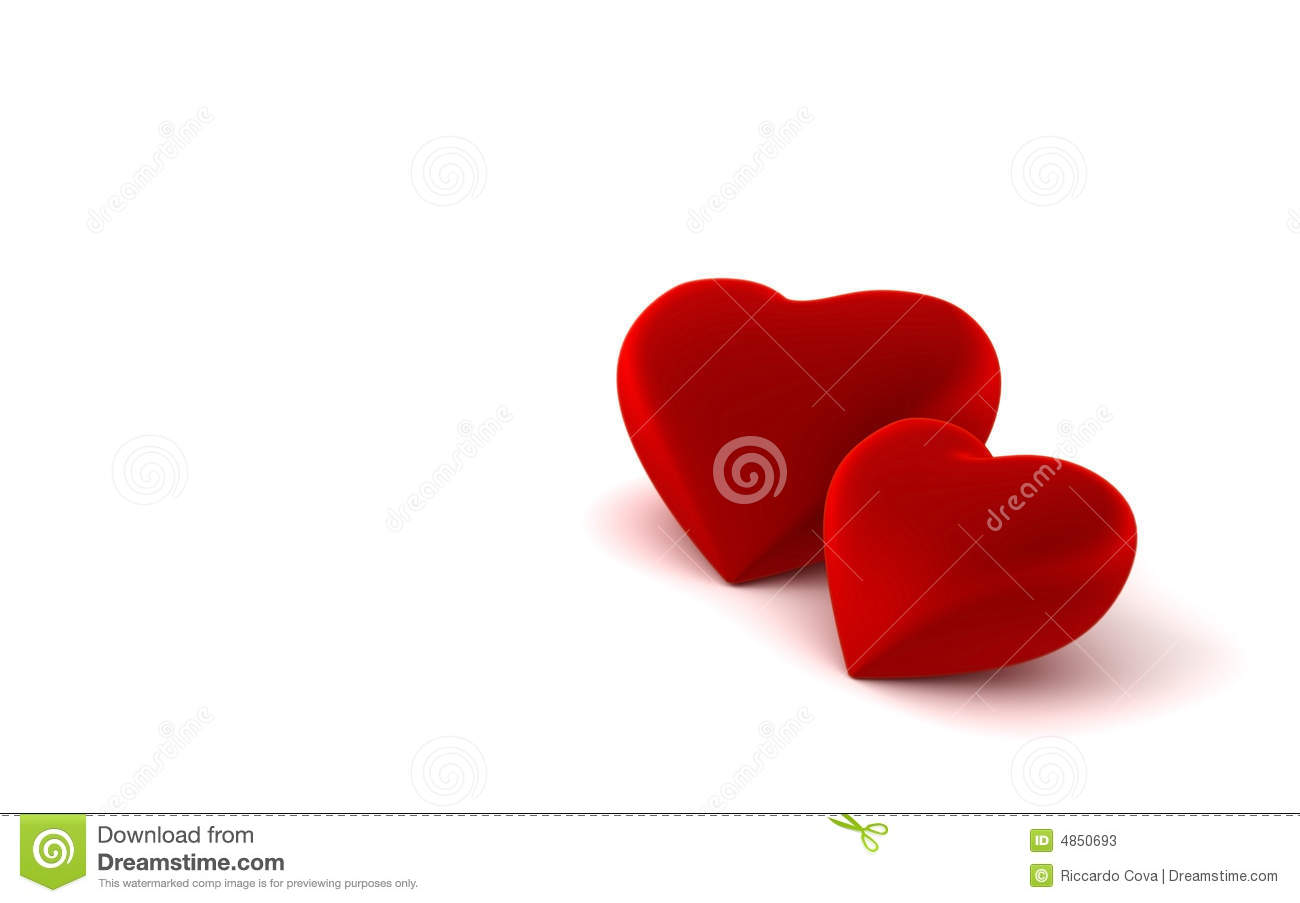 Two Heart Shapes On White Background Stock Illustration ...