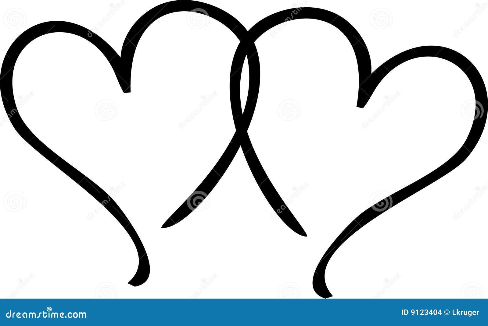 Two Hearts stock illus...