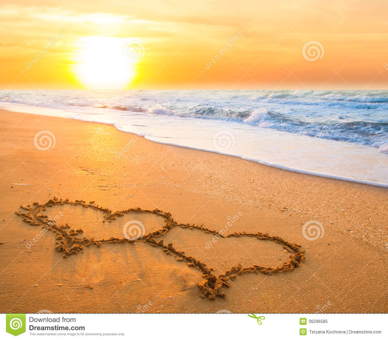 Two Hearts On Beach Sand Royalty Free Stock Photo - Image ...