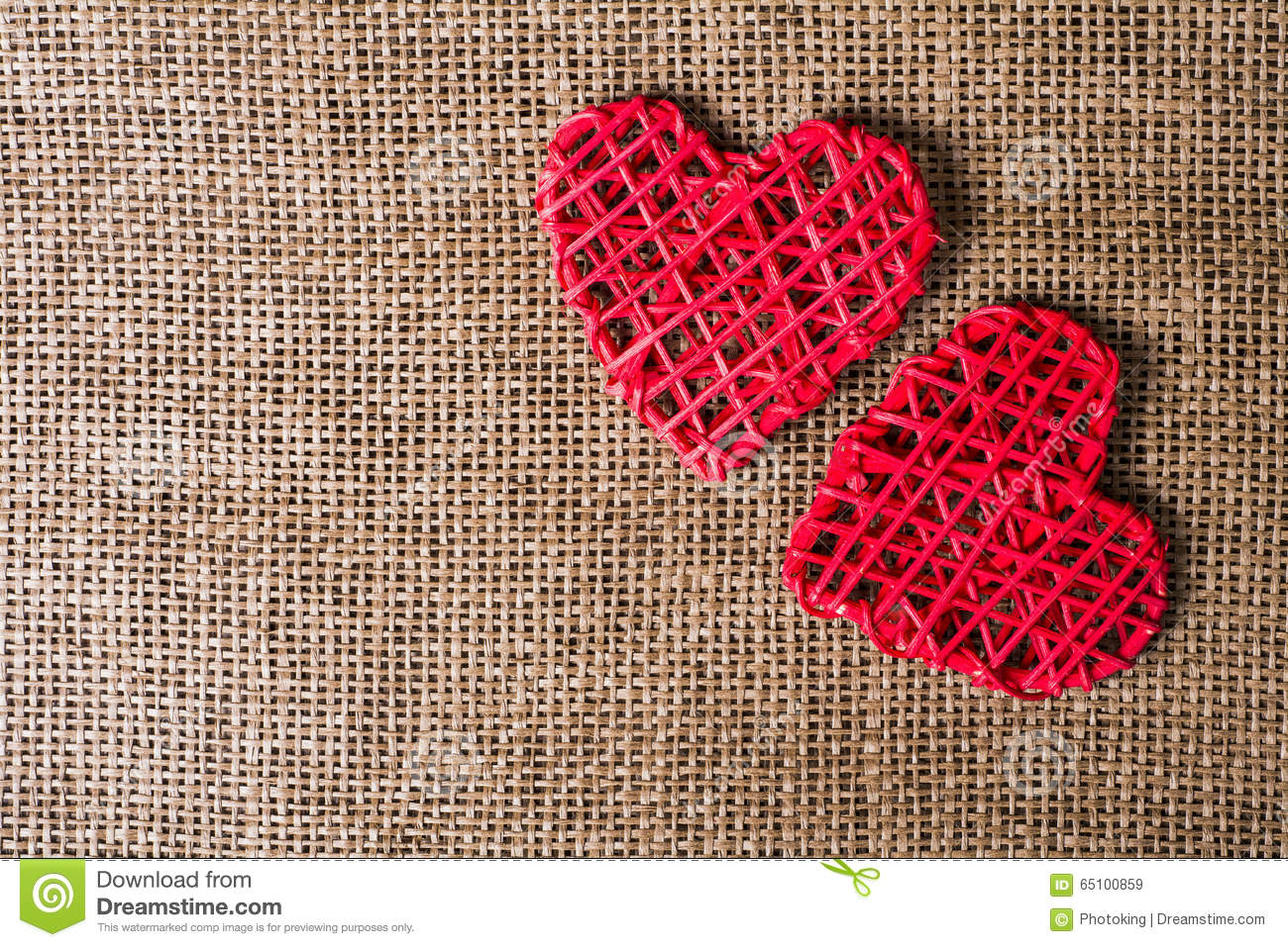 Two Hearts On Burlap Background Wedding Love Concept