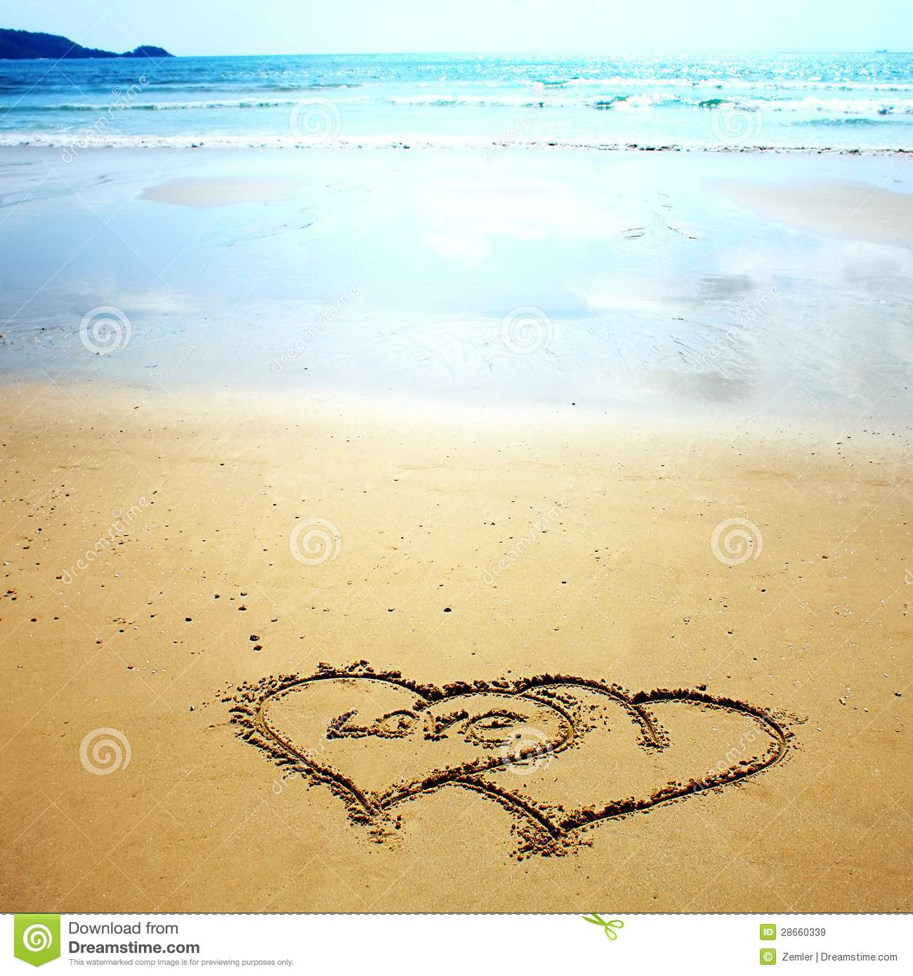 Two Hearts Drawn In The Sand Stock Image - Image: 28660339