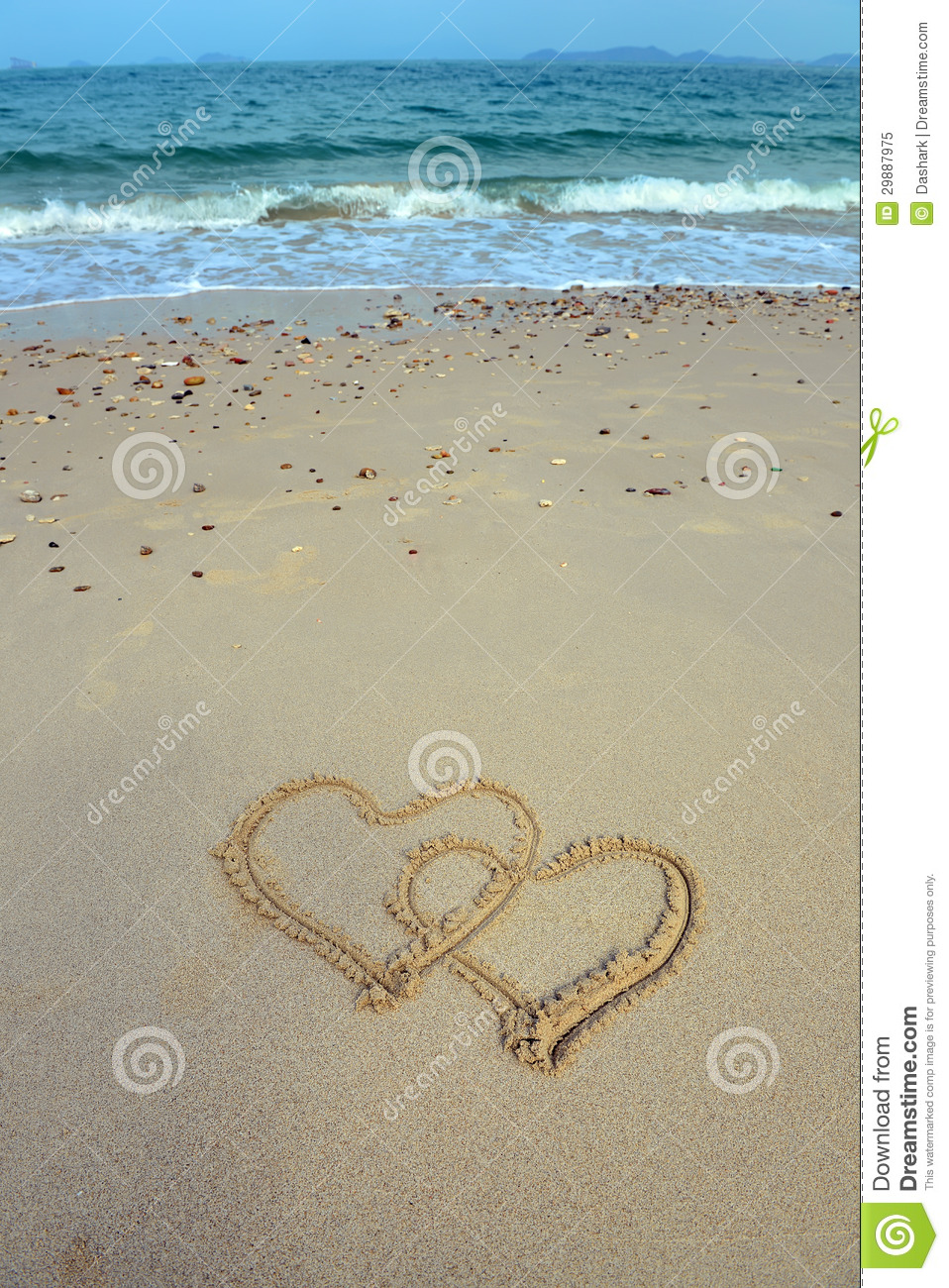 Two Hearts Drawn In Sand Royalty Free Stock Photo - Image ...