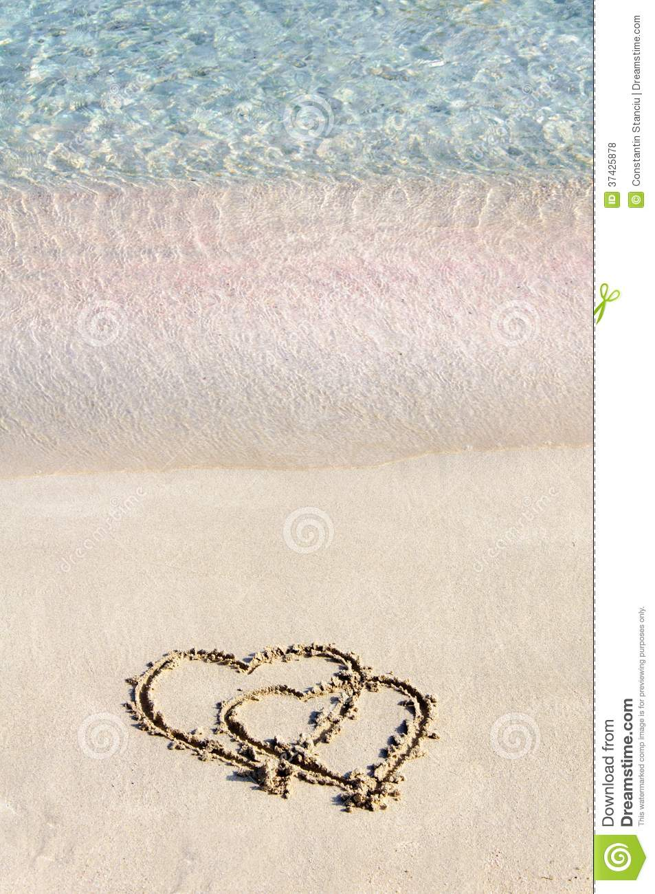 Two Hearts Drawn In The Sand On A Beautiful Beach Royalty ...