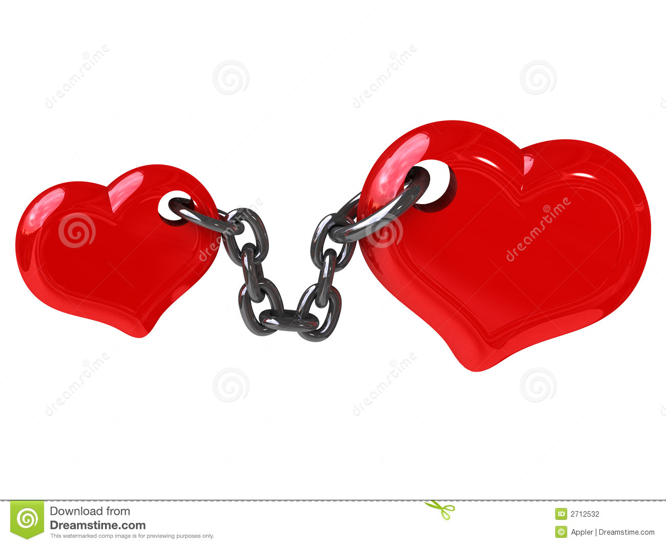 Two Hearts Fixed By Chain Stock Illustration Image Of