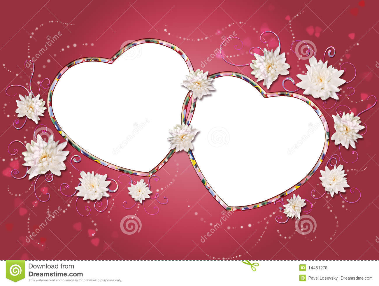 Two Hearts Frame Collage Stock Illustration Illustration Of