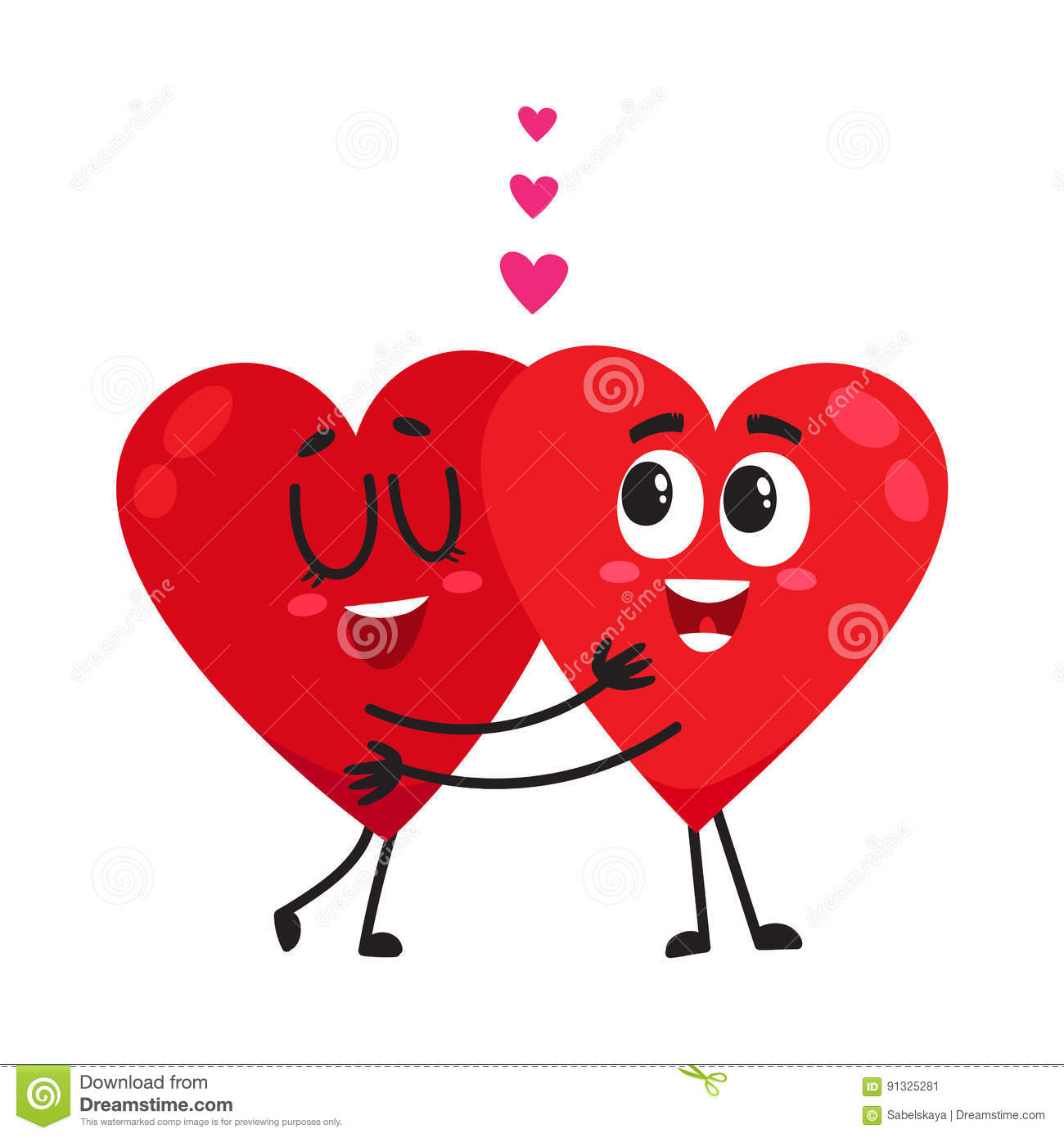 Love Each Other When Two Souls: Two Hearts Hugging, Embracing Each Other, Couple In Love