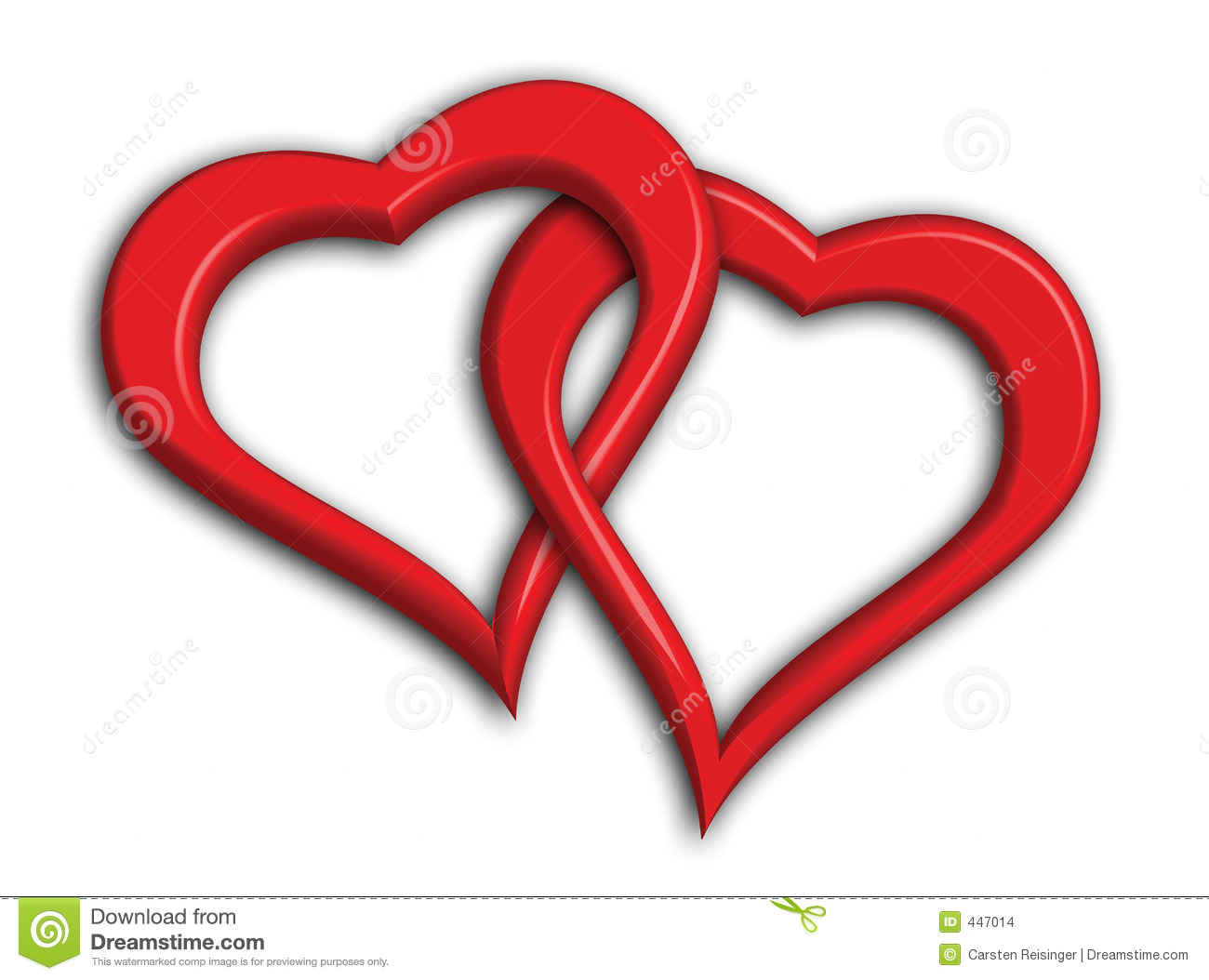 Two hearts intertwined - clipping path included (drop shadows not ...