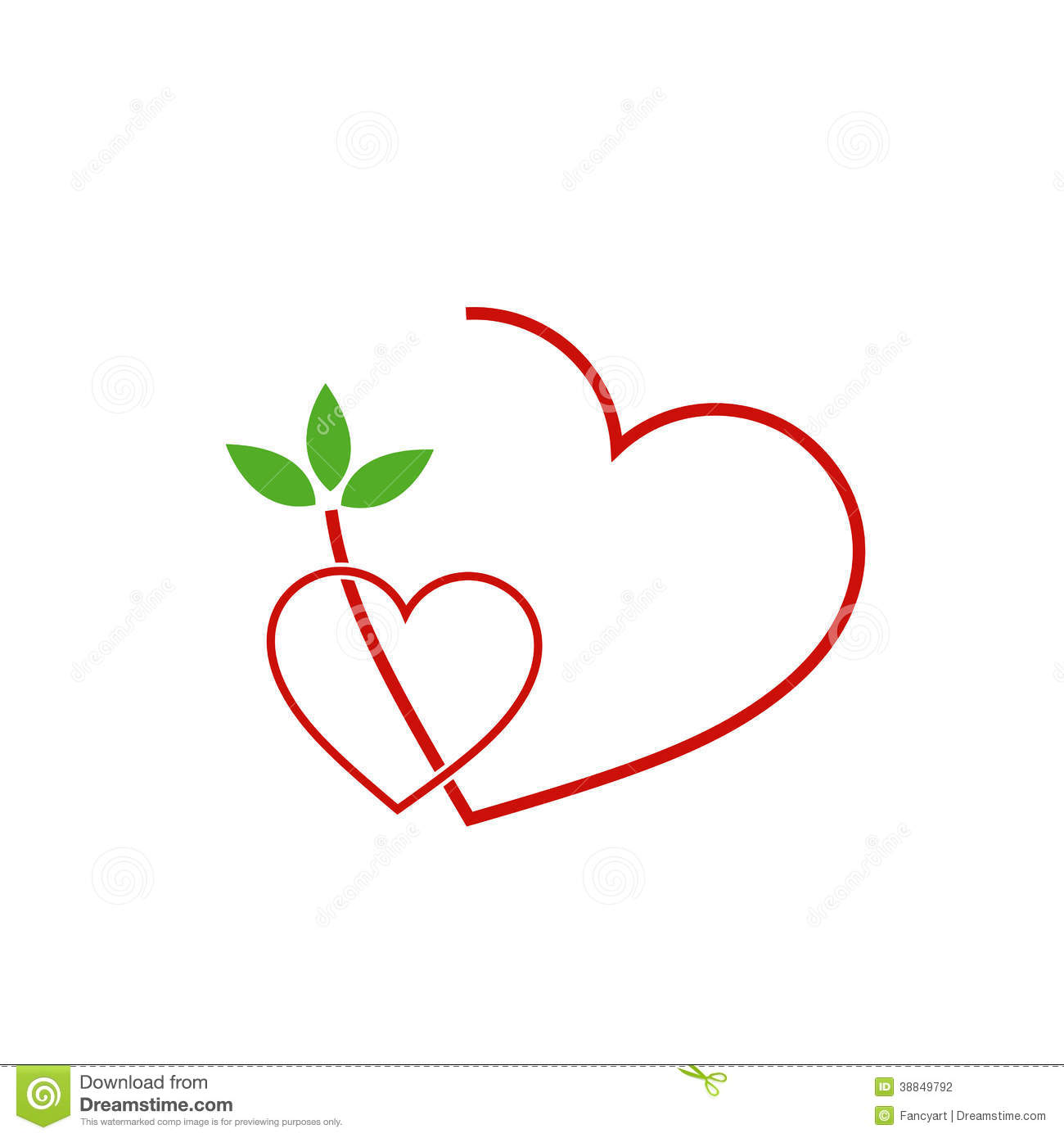 two hearts with leaves stock vector image of collection