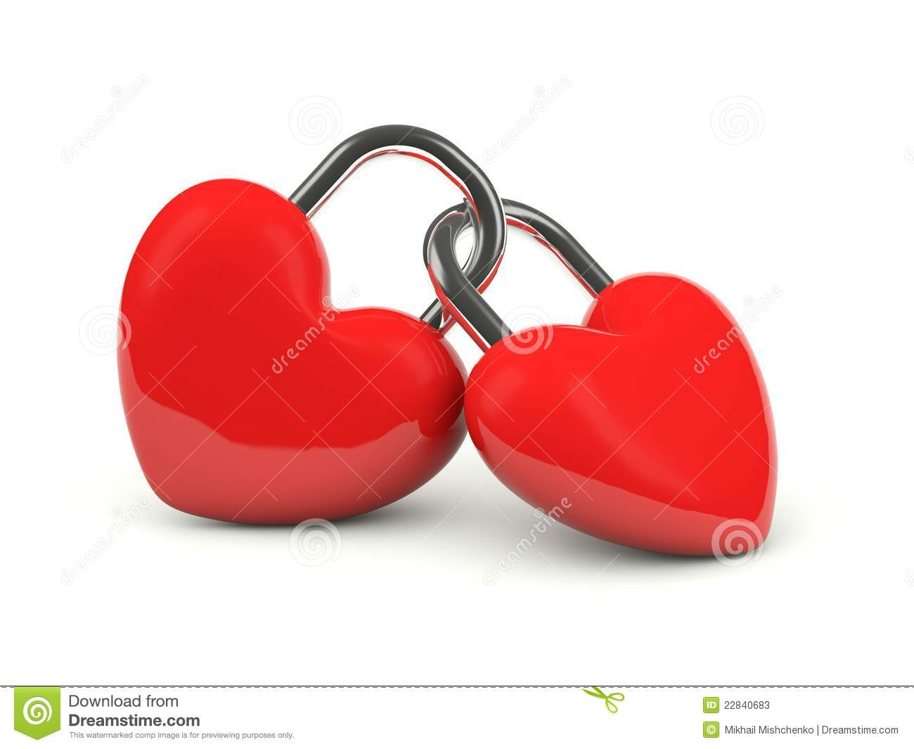 Two hearts locked together stock photos image 22840683