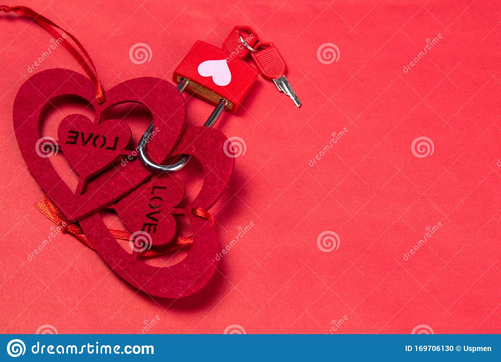 Two Hearts Made Of Felt Are Connected By A Block With A Key On A Marble Pink Background Stock Photo Image Of Republic Partner 169706130