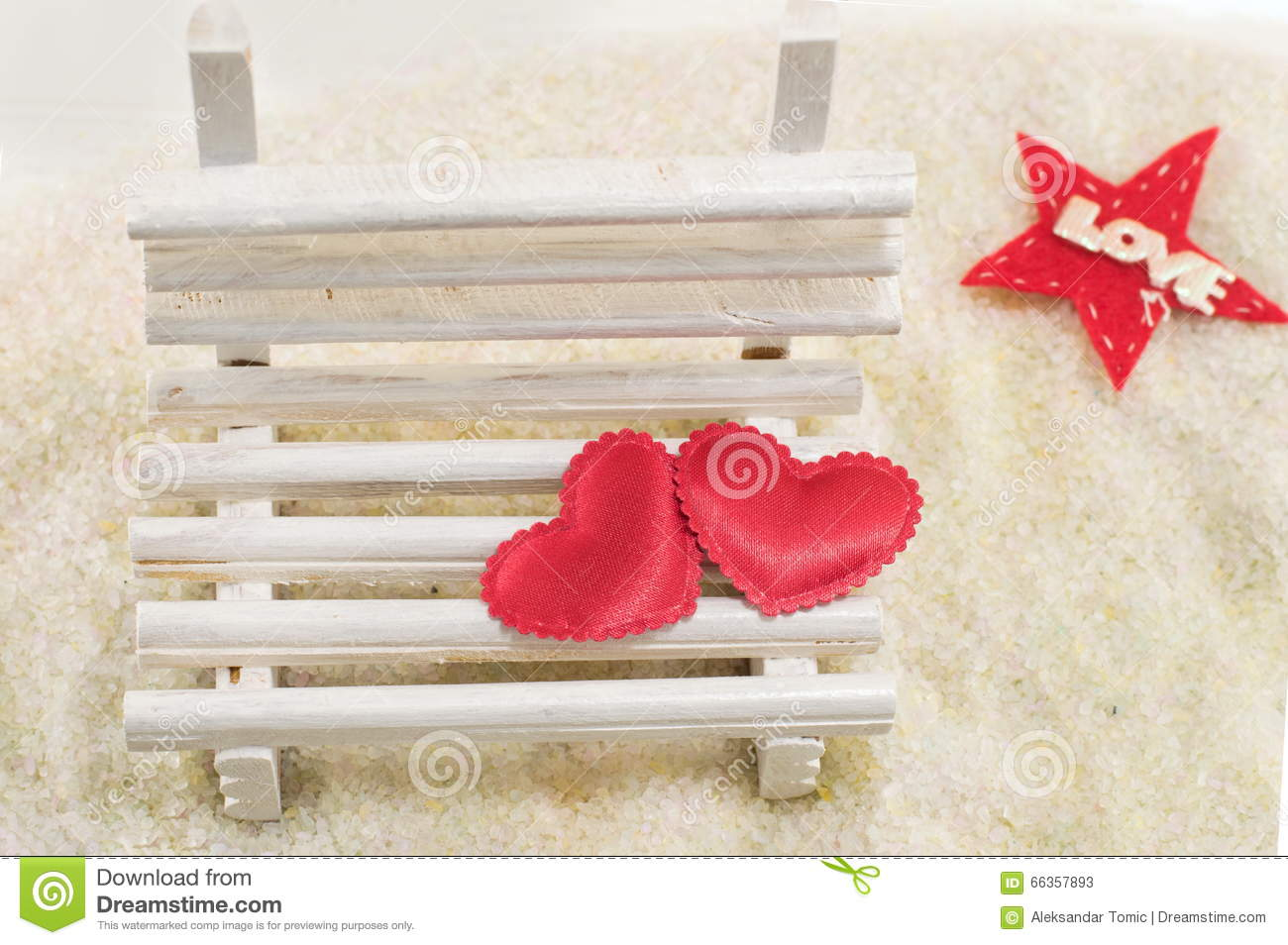 Magnificent Two Hearts On A Miniature Wooden Bench Stock Image Image Short Links Chair Design For Home Short Linksinfo