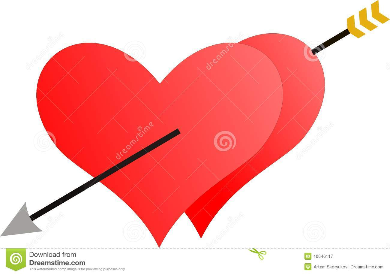 Royalty Free Stock Photography: Two hearts penetrated by an arrow