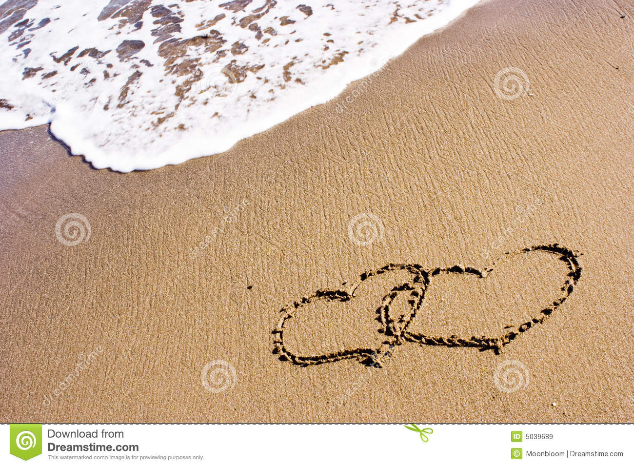 Two Hearts In The Sand Royalty Free Stock Images - Image ...