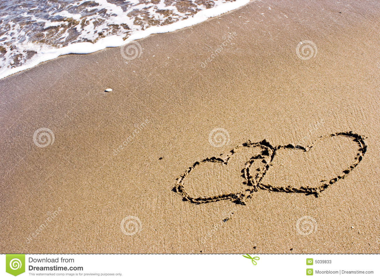 Two Hearts In The Sand Stock Photos - Image: 5039833