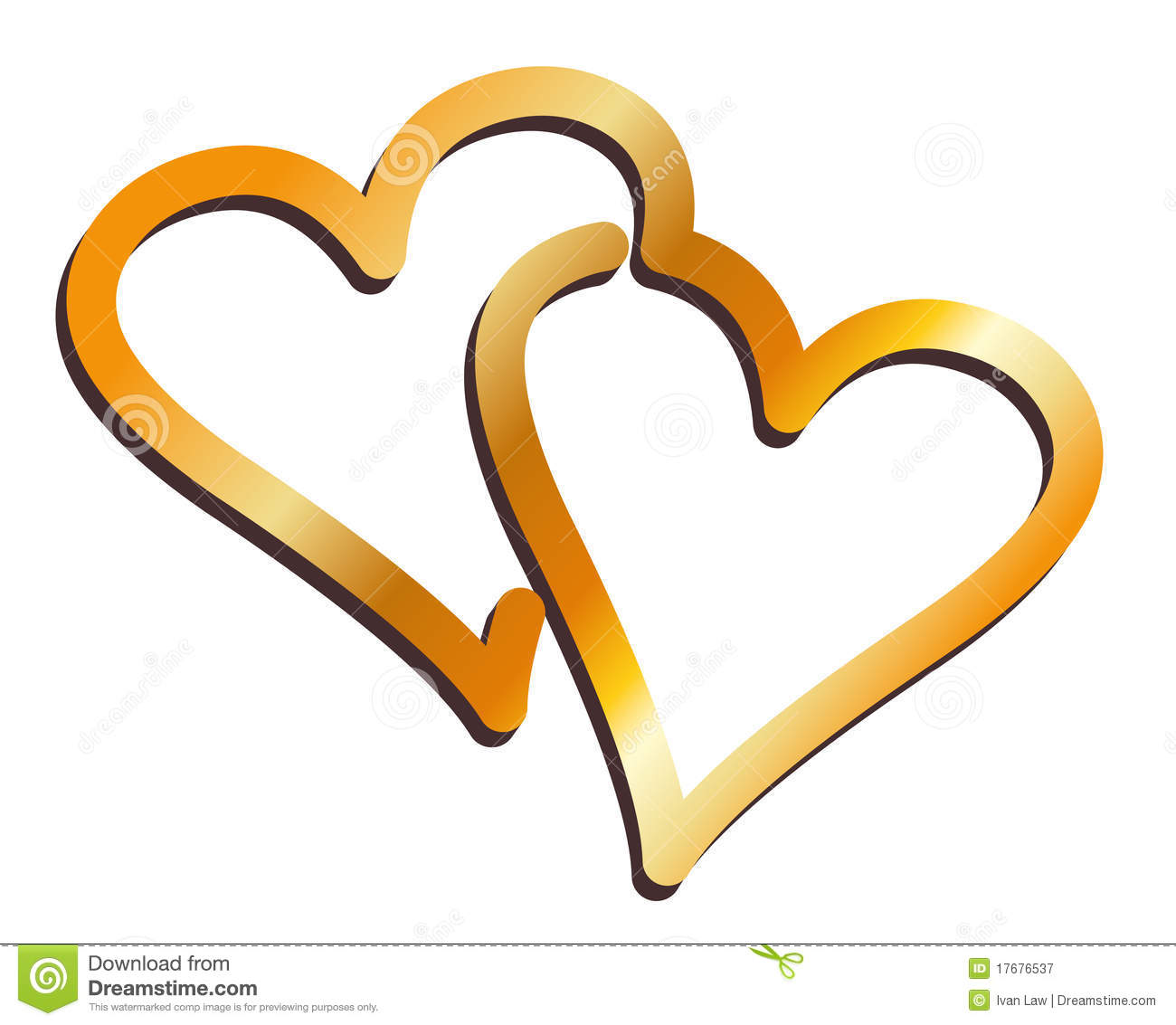 Two stylised hearts fused together and rendered in a gold metallic ...