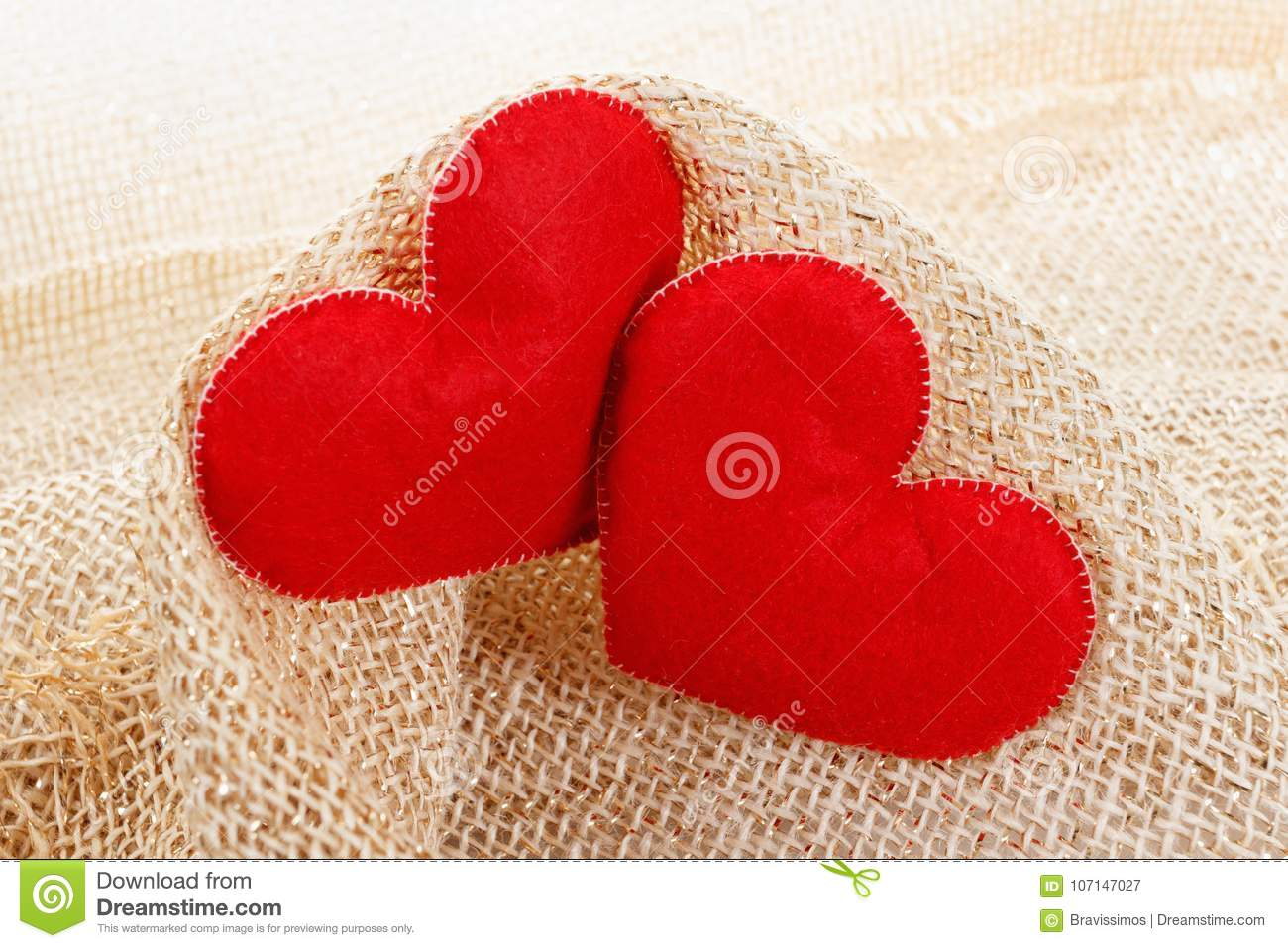 Texture Of Sackcloth Close Up And Heart Shape From Felt