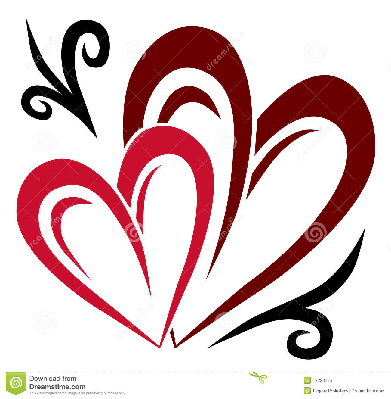Two Hearts Tattoo Royalty Free Stock Photo - Image: 12223285