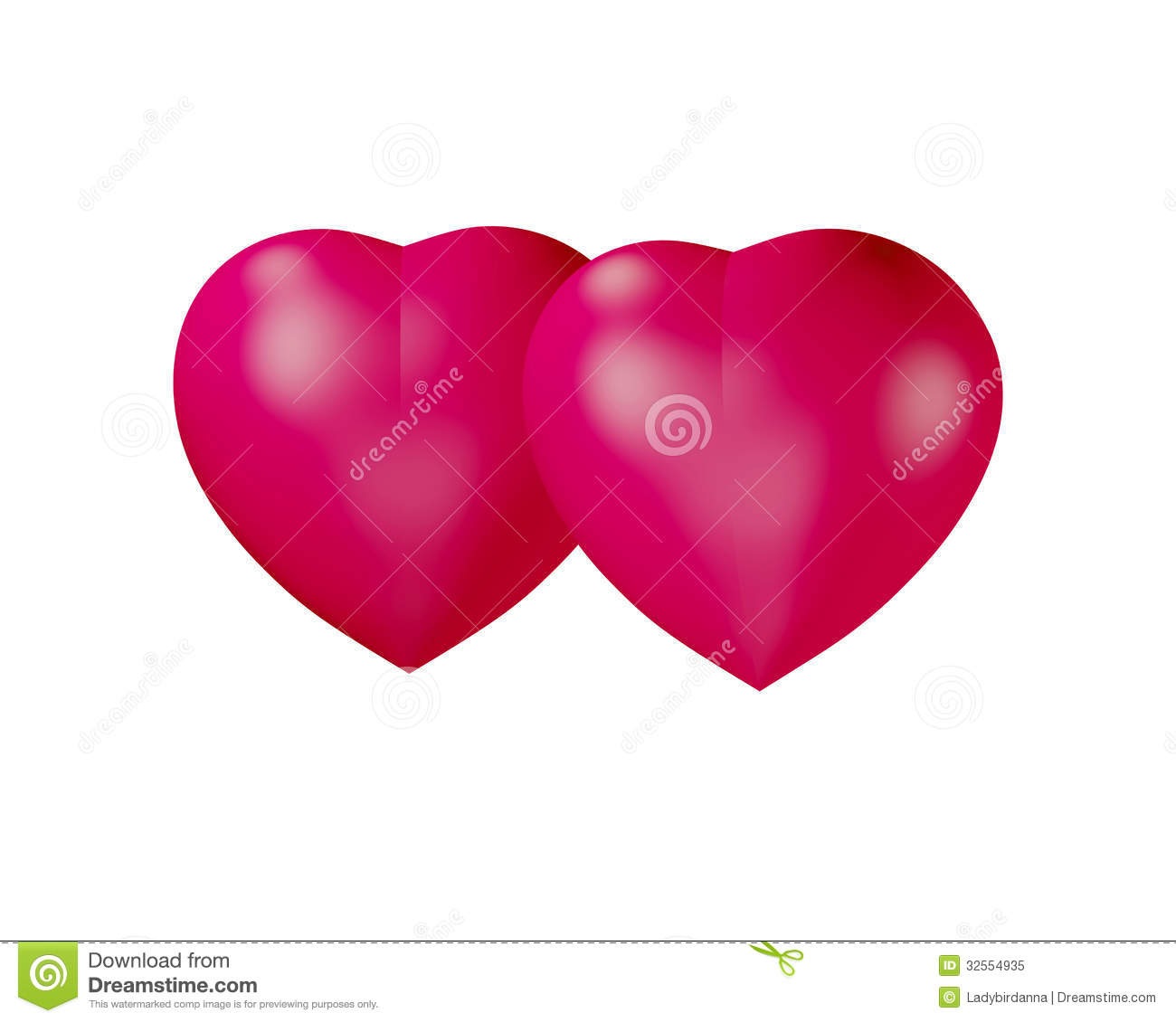 Two Hearts Together On White Background Royalty Free Stock ...