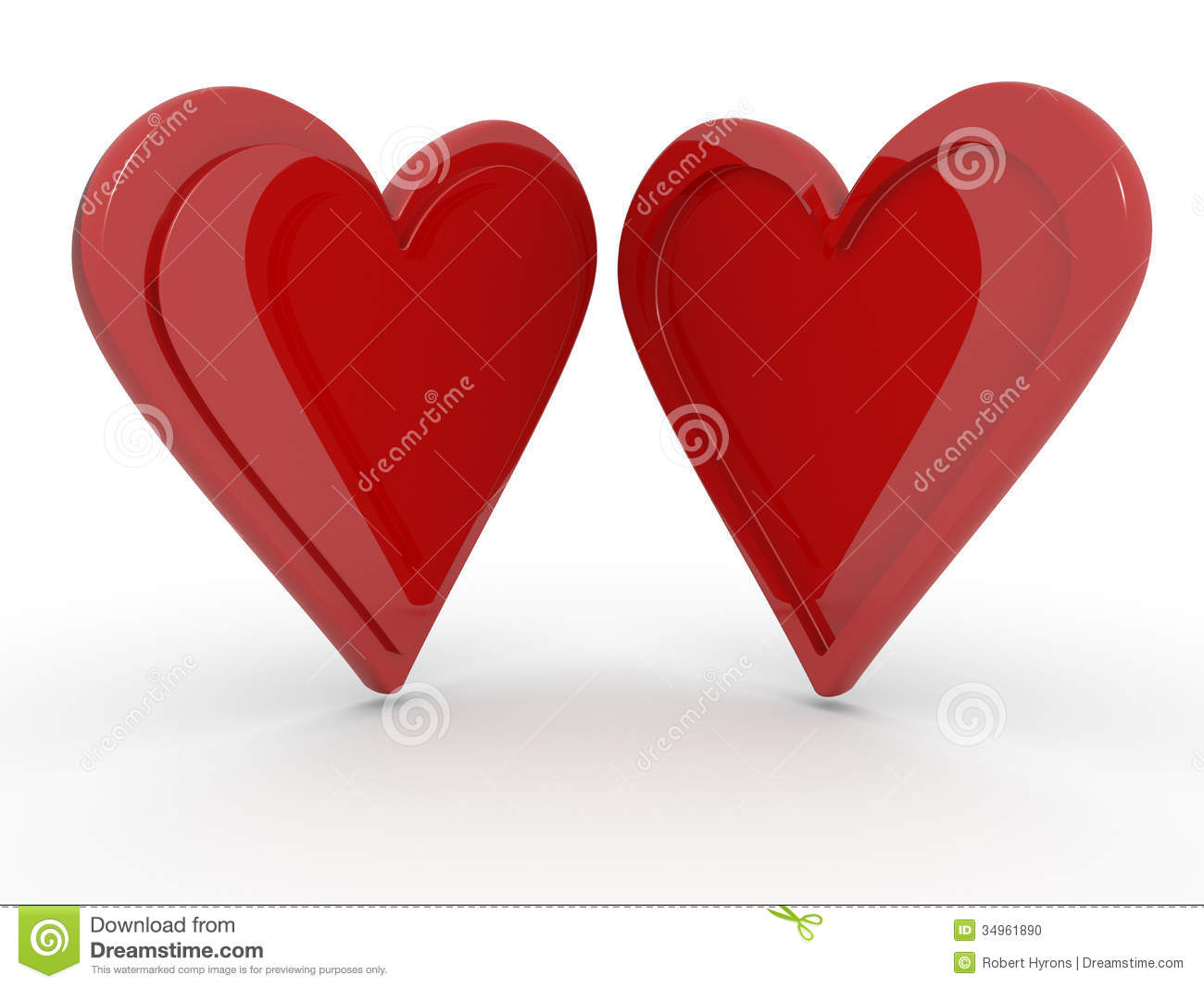 Two hearts together on a white background, opposite profiles concept ...
