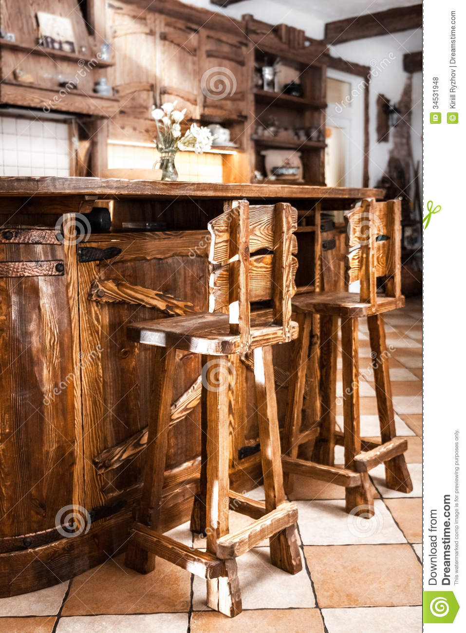 Two High Wooden Bar Chairs In Country Style Stock Photo