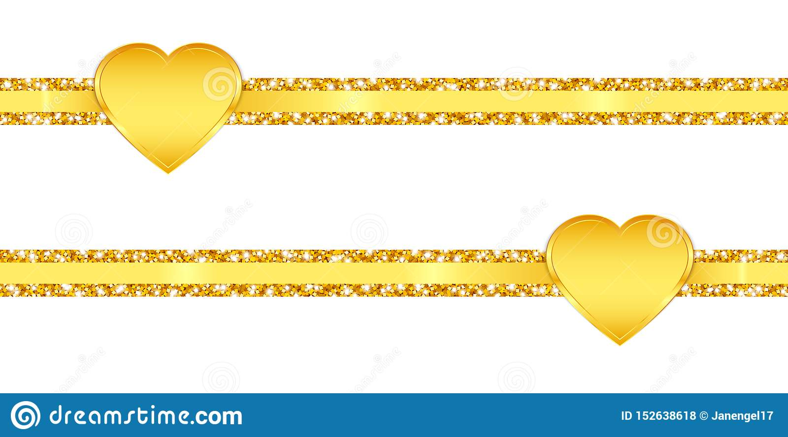 Two Horizontal Slim Glitter Ribbons Golden Shining Hearts