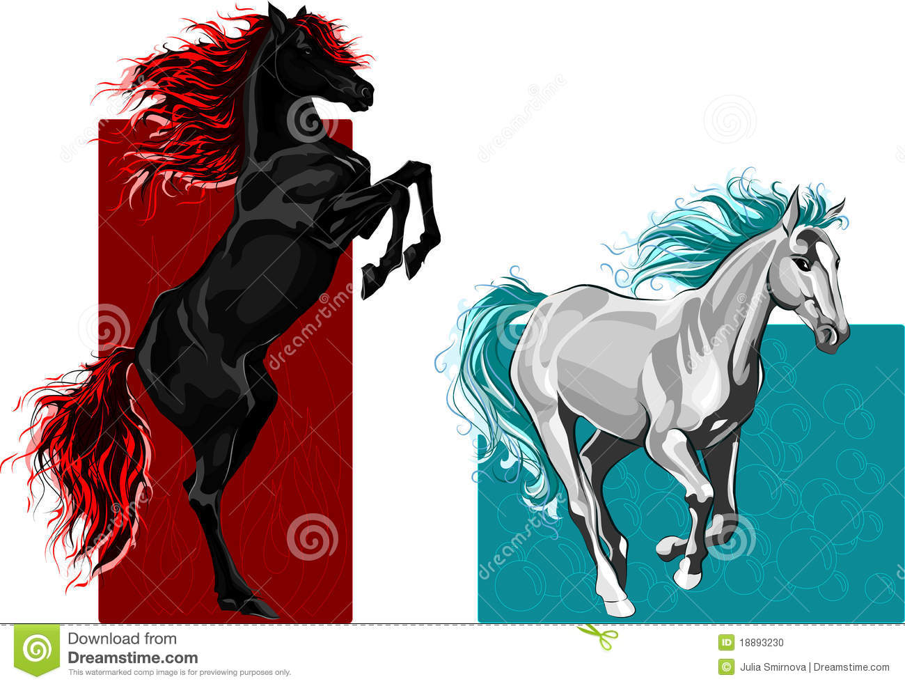 Vector illustration of two horses, fire and water elements.