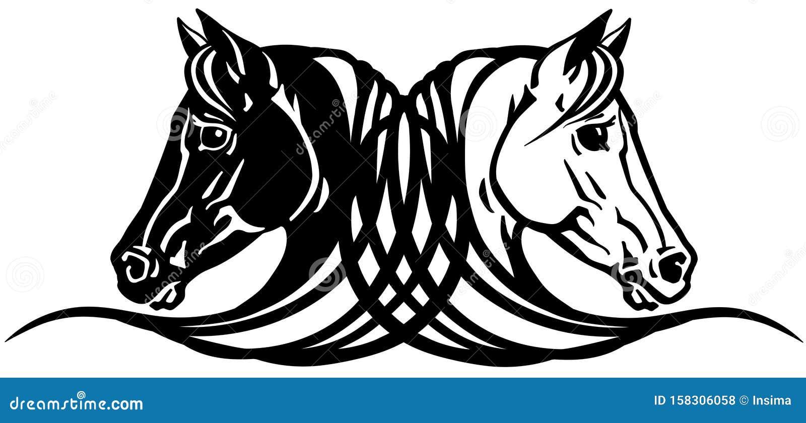 Two Horses Heads Tattoo Stock Vector Illustration Of Breeding 158306058