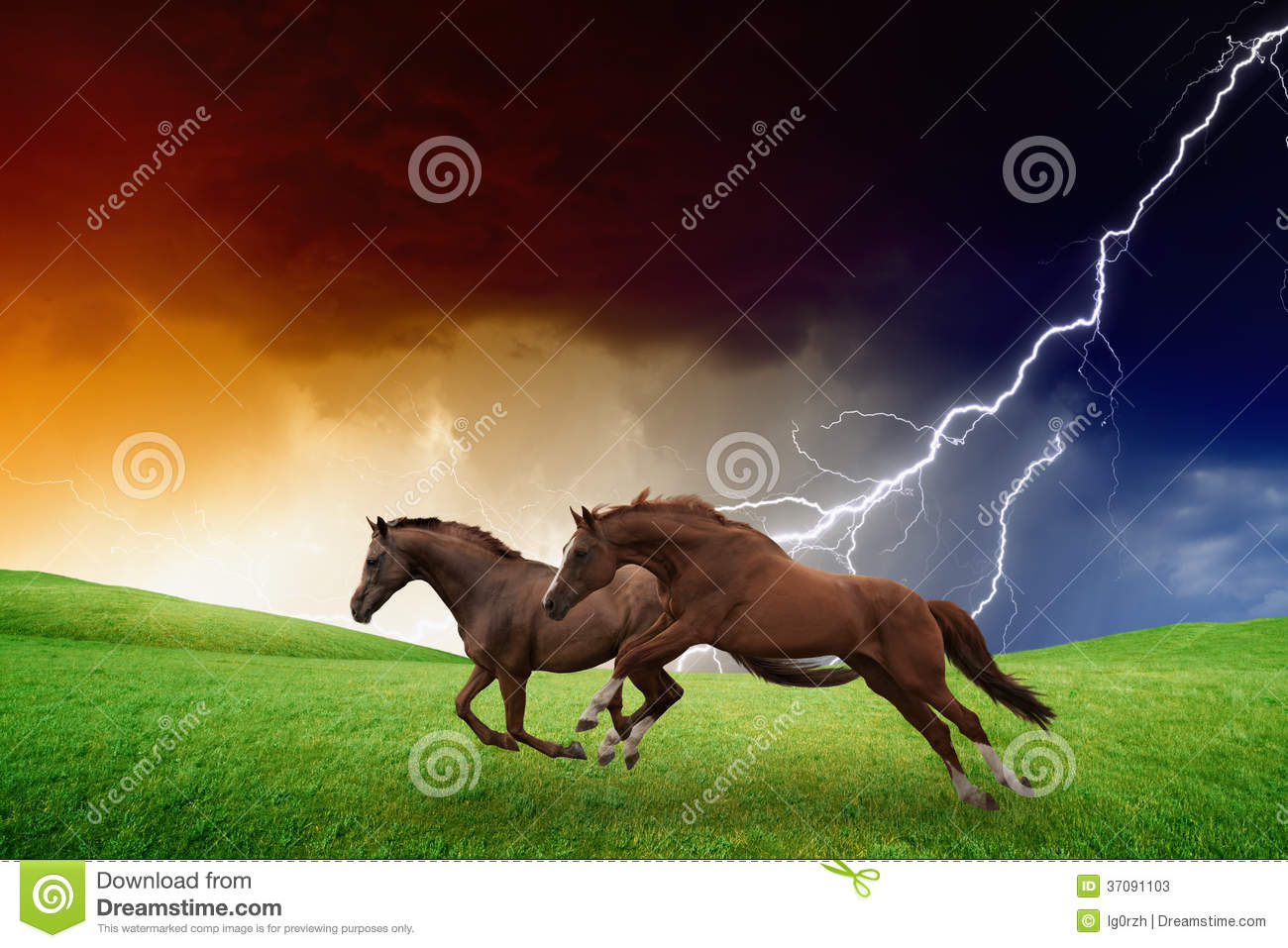 ... , dark stormy sky, lightning, picture for chinese year of horse 2014