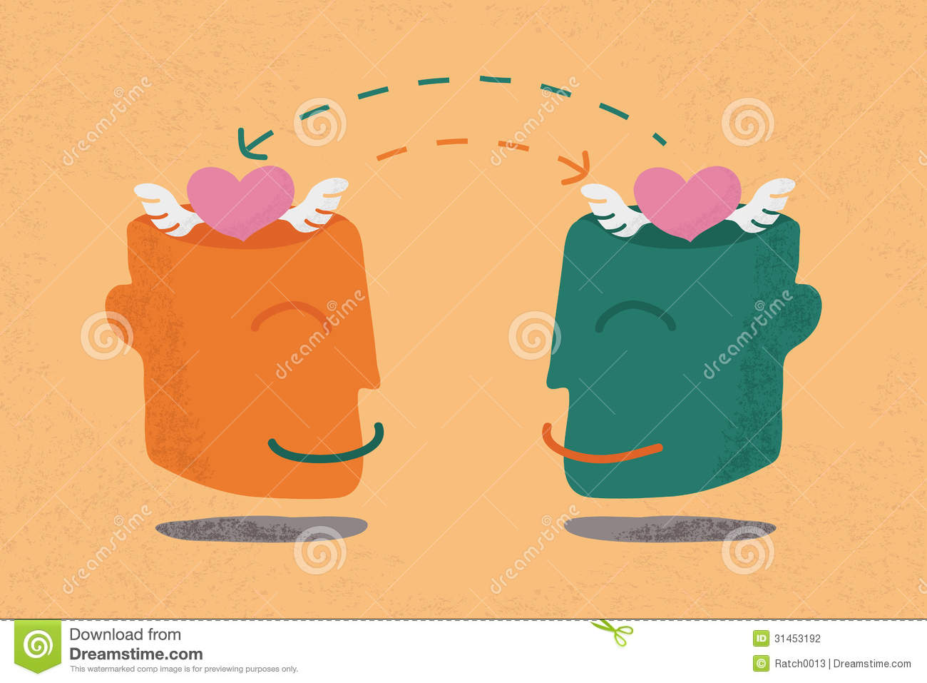 Stock Photography  Two human heads with heartsHuman With Two Hearts