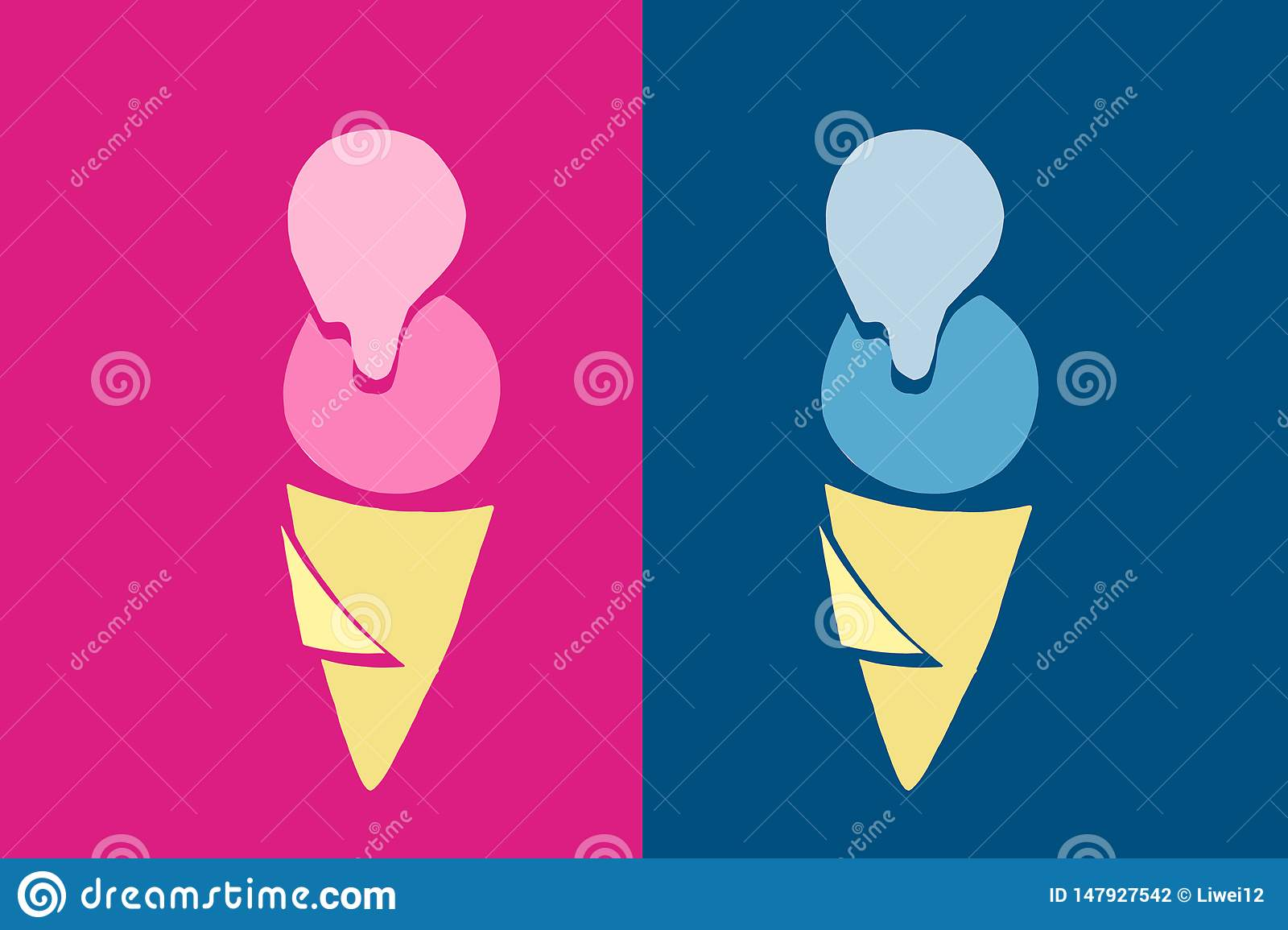 two icecreams illustration