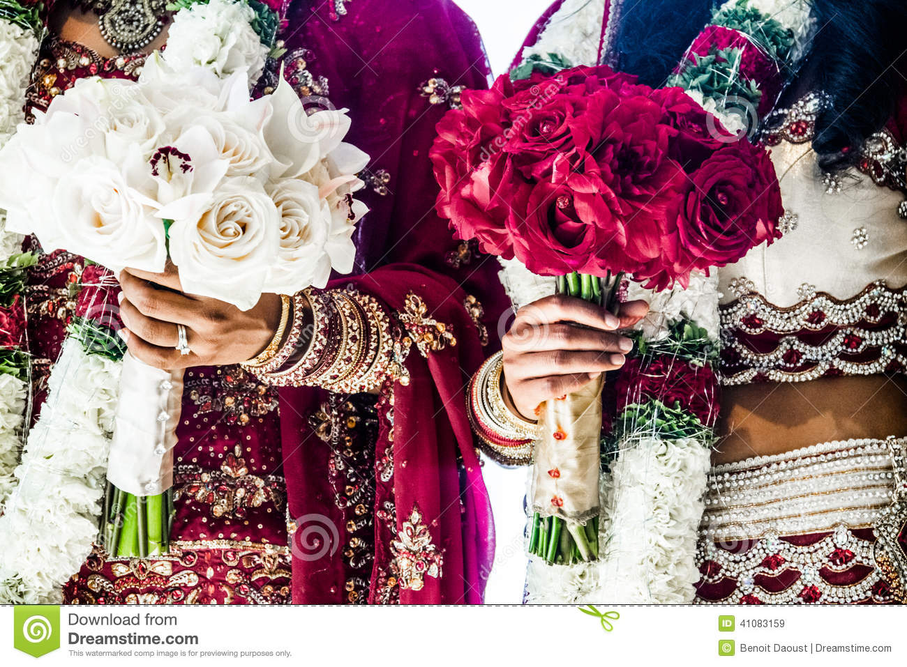 two indian wedding bouquets and brides stock photo image 41083159. Black Bedroom Furniture Sets. Home Design Ideas