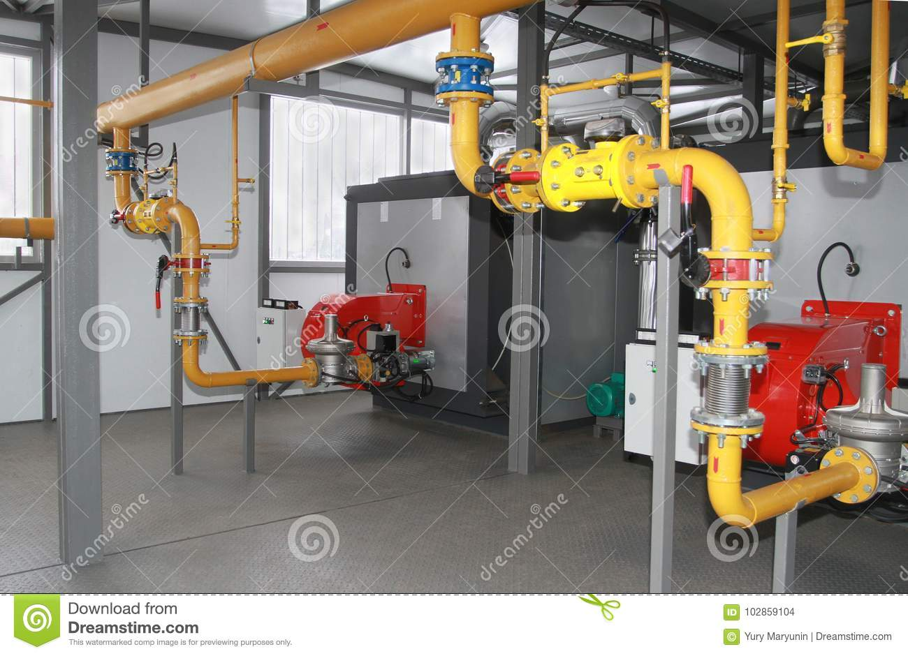 Two industrial gas boilers stock photo. Image of torches - 102859104