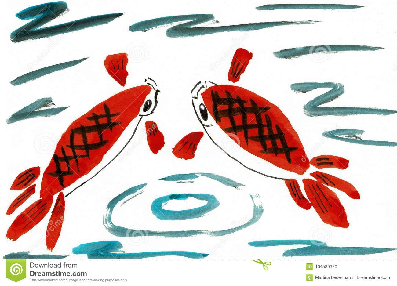 Two Japanese Koi Fish In A Pond Stock Vector - Illustration of ...