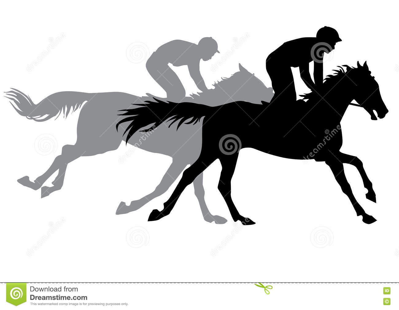 Two Jockeys Riding Horses Stock Vector Illustration Of Black