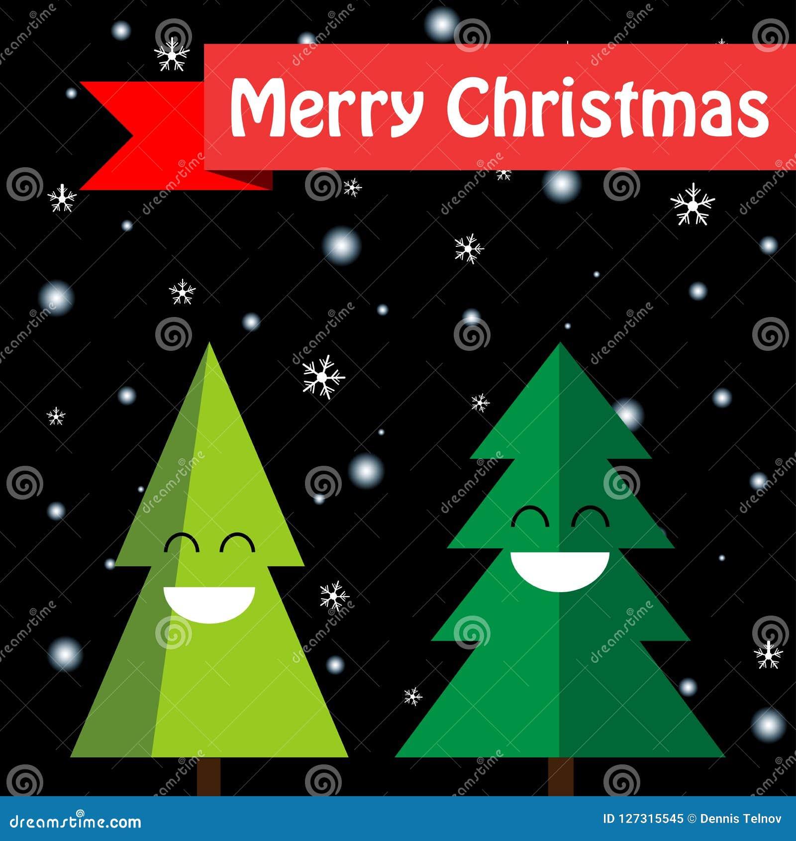 Two Joyful Christmas Trees Isolated On A Black Background. Happy ...