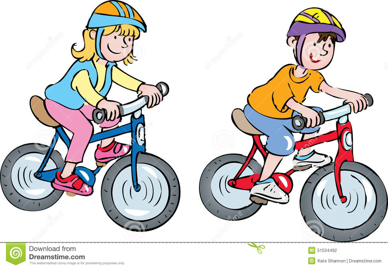 Two Kids On Bikes Stock Vector - Image: 51534492