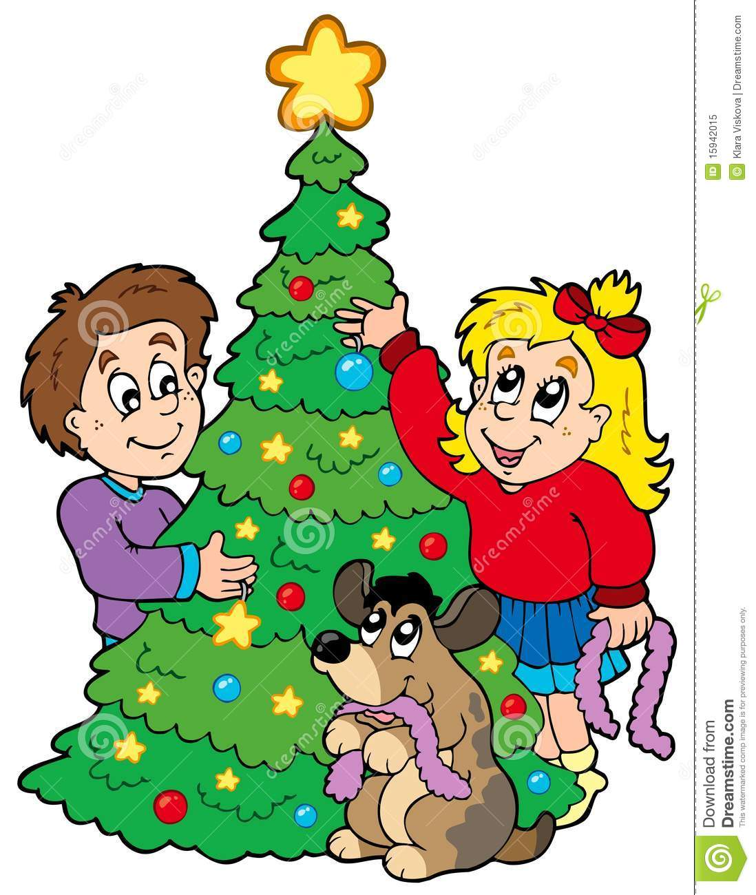 Two Kids Decorating Christmas Tree Stock Vector - Illustration of ...