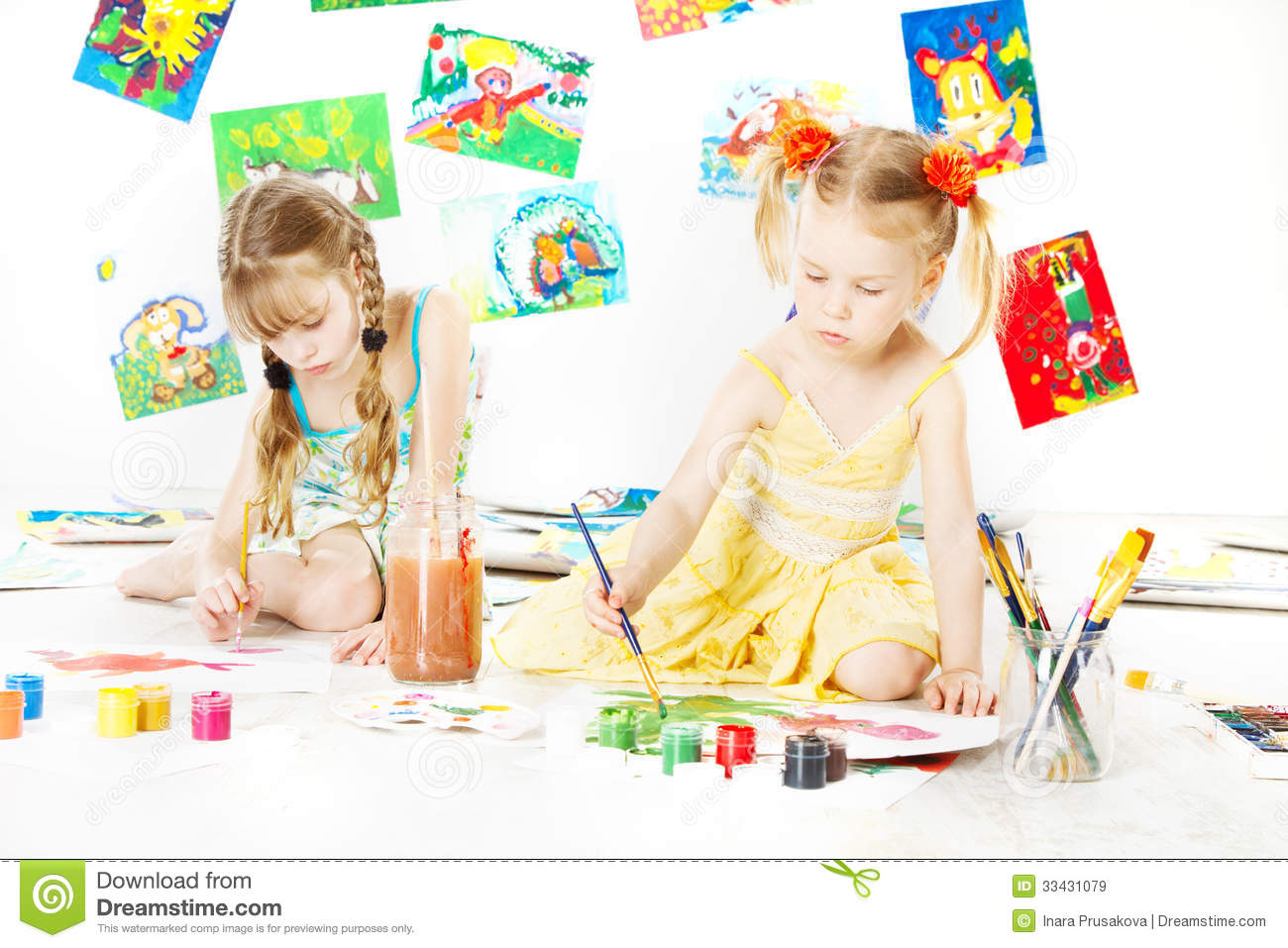creative kids painting little girls drawing children image royalty free stock images - Color Drawing For Kids