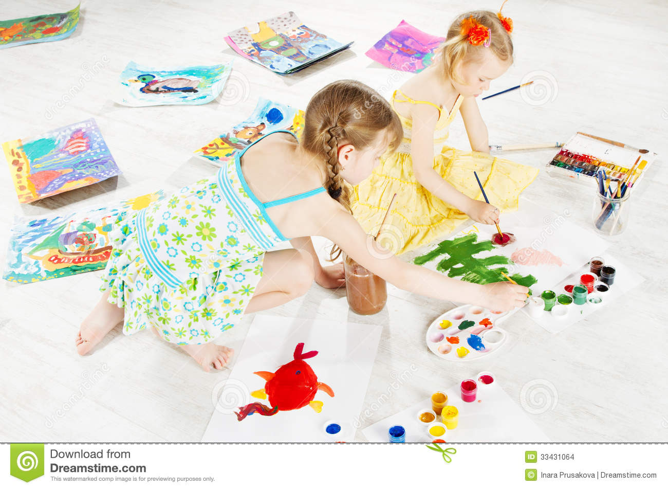 Two Kids Drawing With Color Brush Stock Photo Image