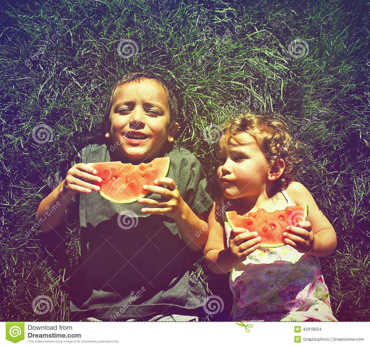 Download Two Kids Eating Watermelon Done With A Retro Vintage Instagram F Stock Photo - Image of application, family: 42918504