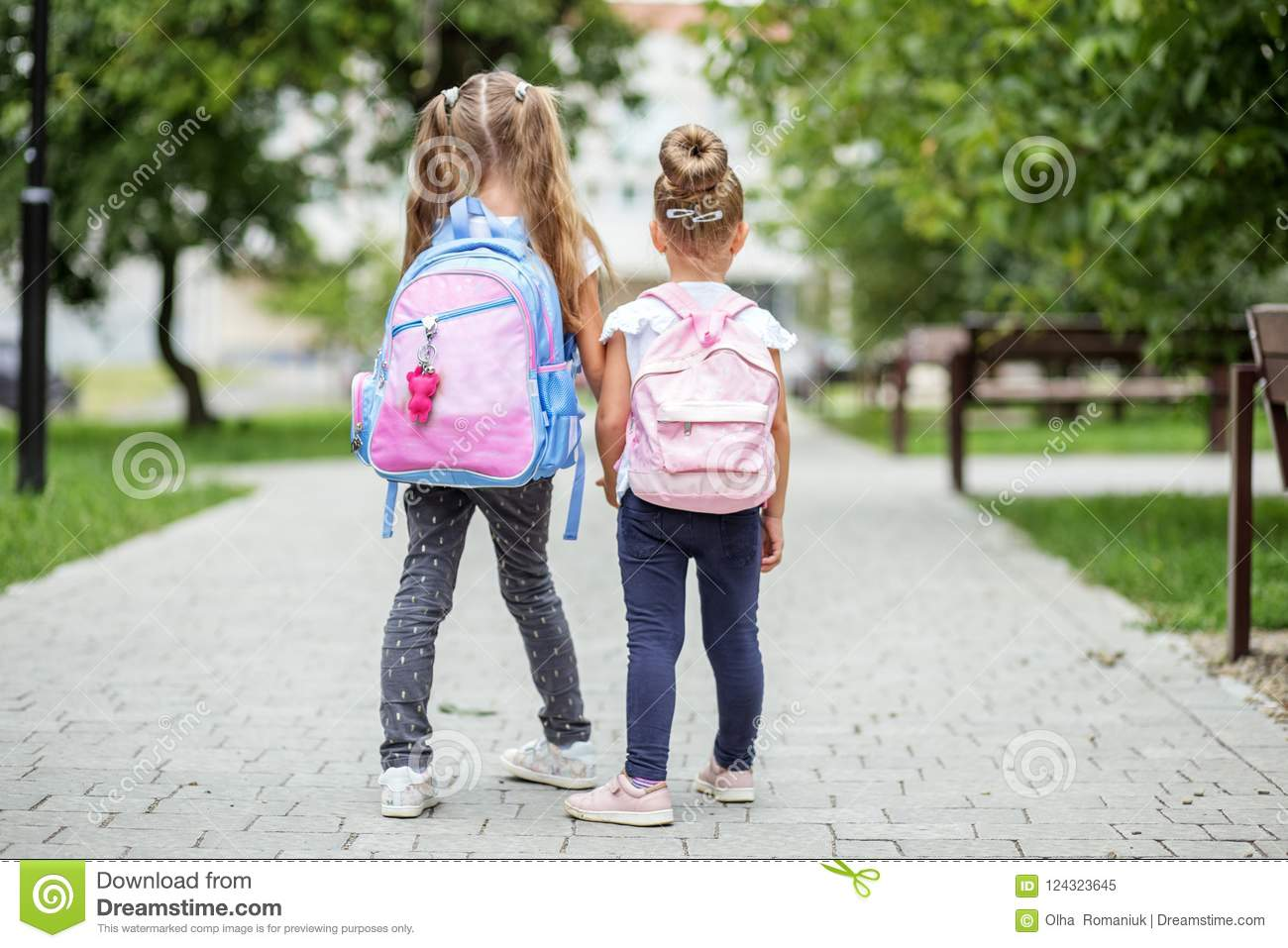 Two Kids Go To School With Backpacks The Concept Of School Study