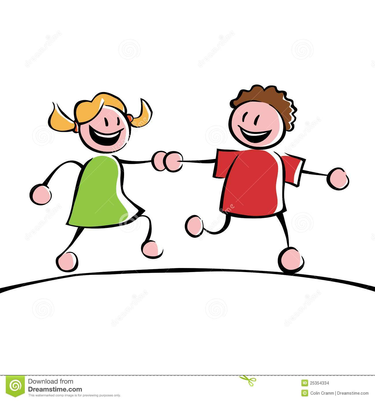 Two kids holding hands stock vector. Illustration of girlfriend - 25354334
