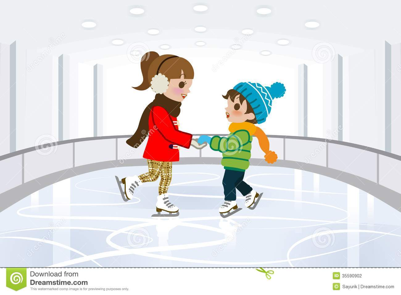 Kids ice skating indoors