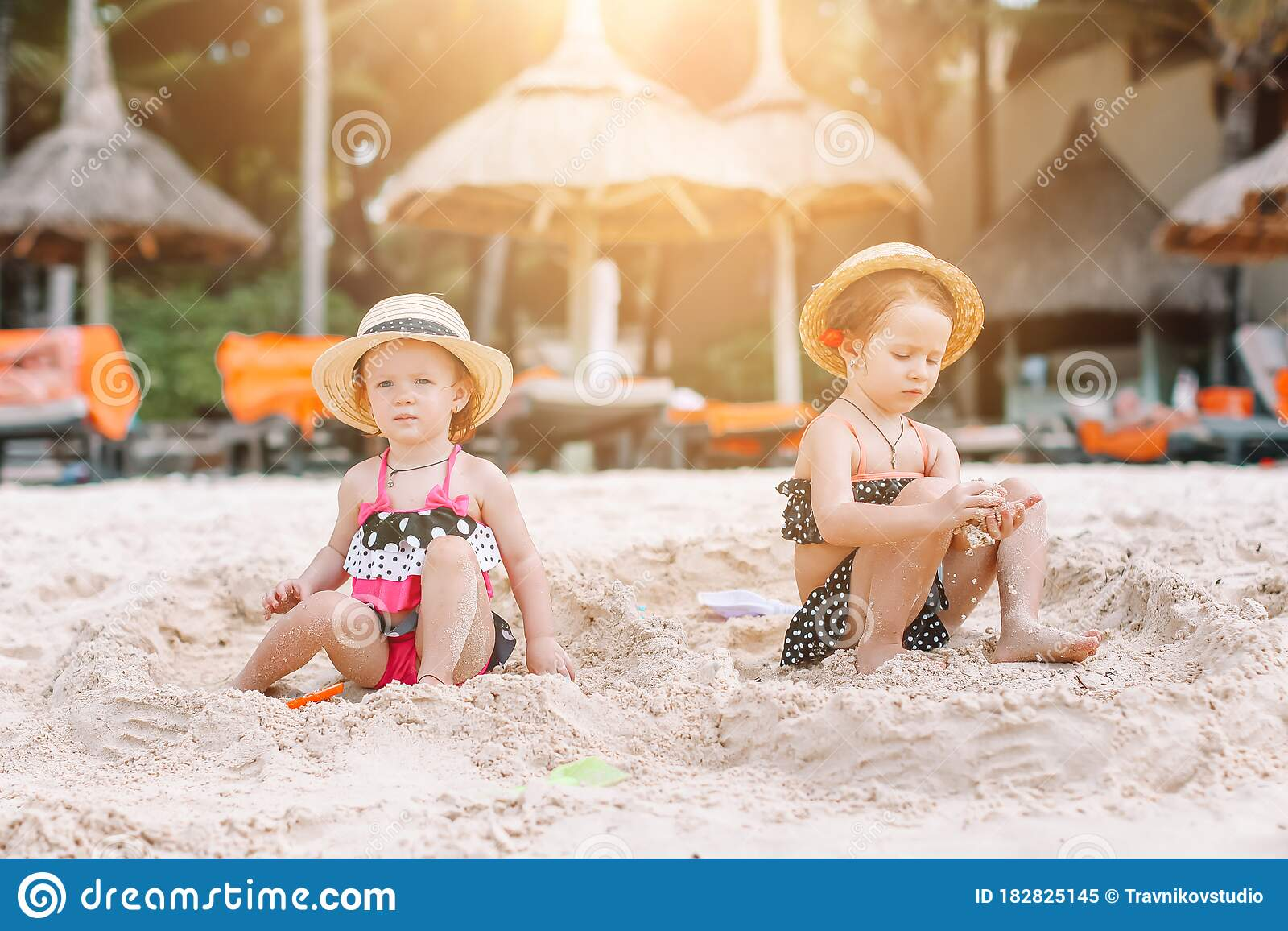 Adorable Little Girl On Tropical Beach Vacation In Stock