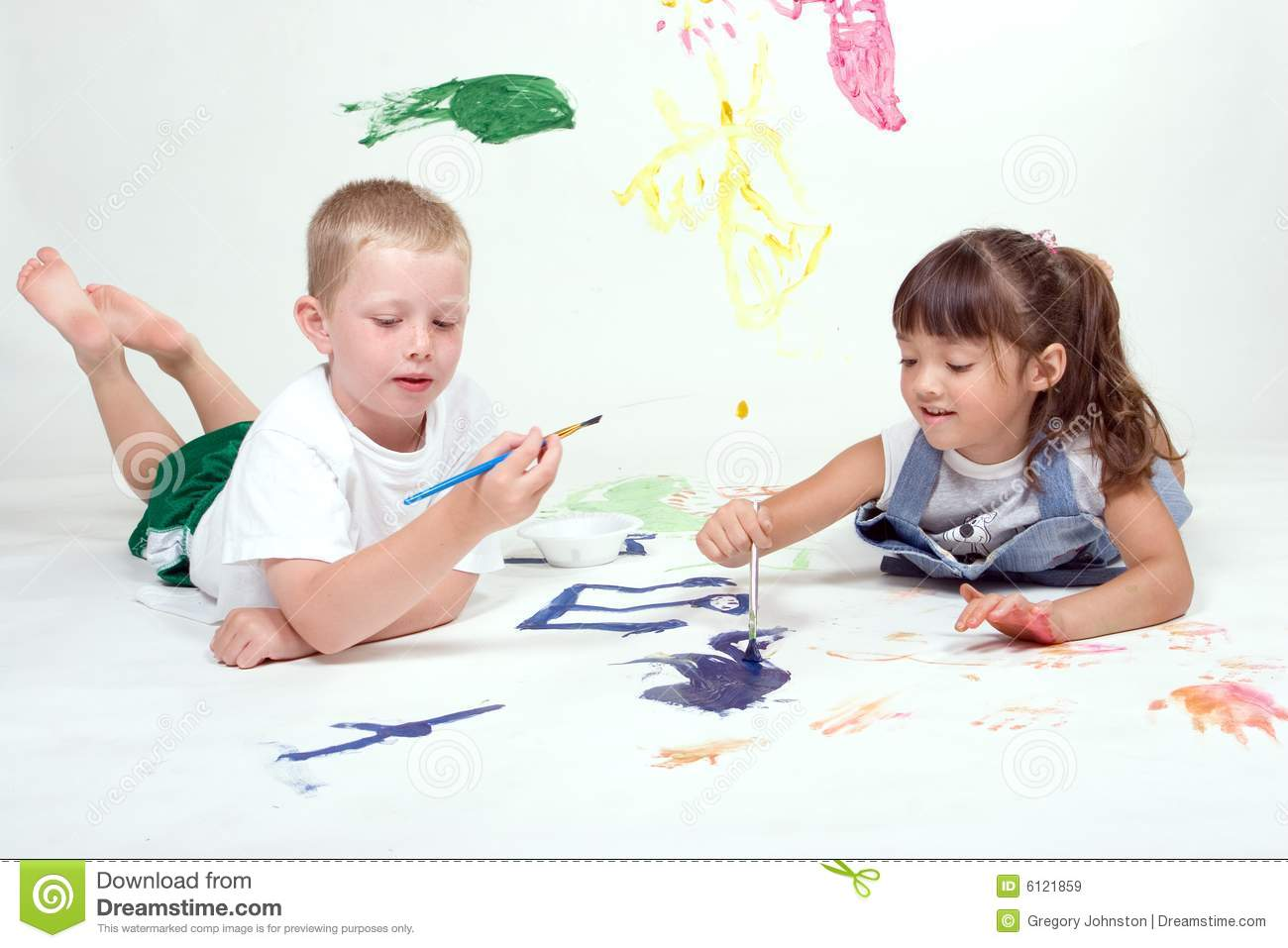 Two Kids Are Painting Pictures. Stock Image - Image of painter, draw ...
