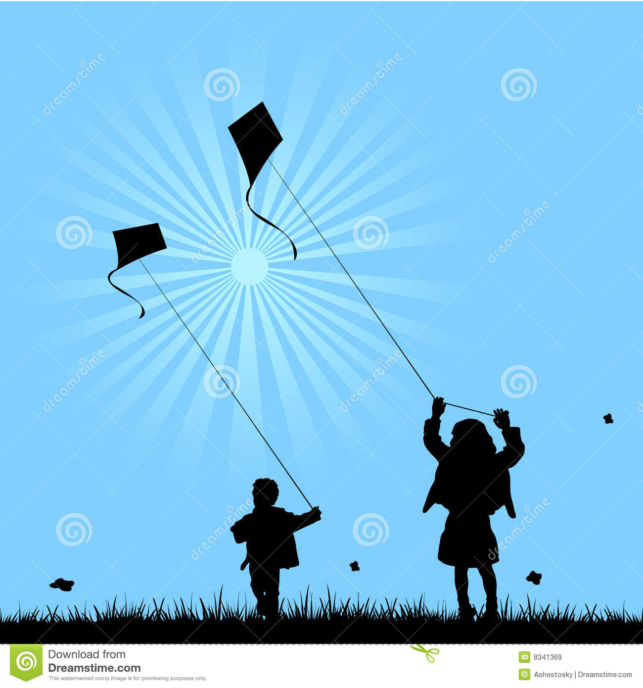 Two kids playing with kites